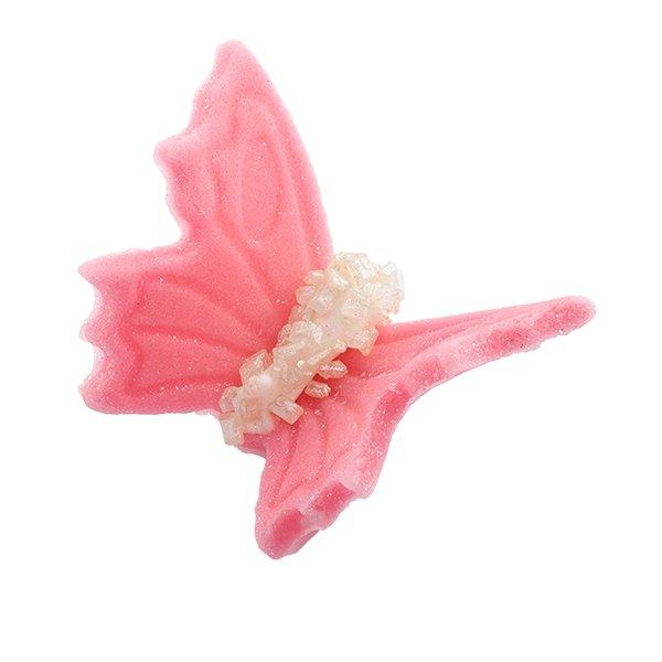 Motylki cukrowe na tort duże różowe 3D 5szt