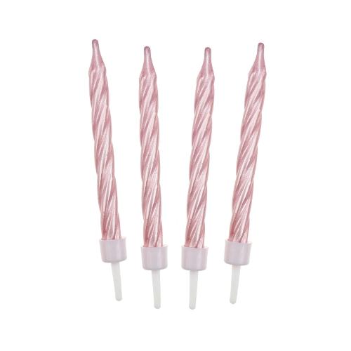 Świeczki urodzinowe na tort PERŁOWE różowe 6cm (12szt)