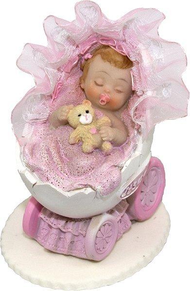 Hokus - Bobas w wózeczku różowy dekoracja tortu na chrzest