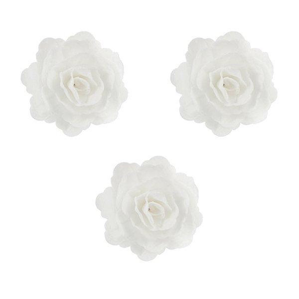 Róża chińska waflowa na tort duża (7cm) biała 3szt