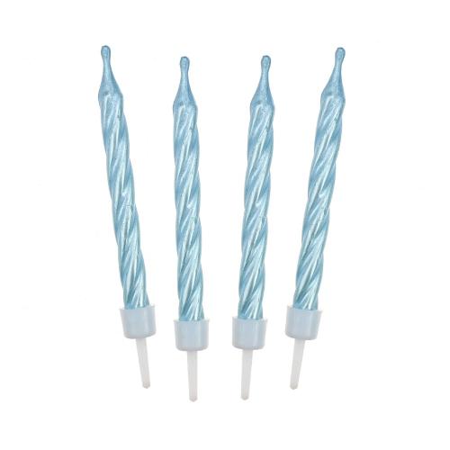 Świeczki urodzinowe na tort PERŁOWE niebieskie 6cm (12szt)