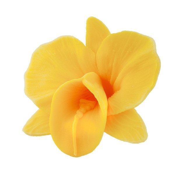 Storczyk kwiat cukrowy na tort 6cm żółty 1szt