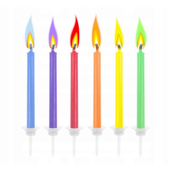 Świeczki urodzinowe na tort KOLOROWE PŁOMIENIE 6szt