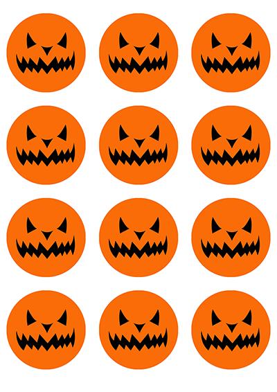Opłatki waflowe na muffinki Halloween Dynia 6cm 12szt v6b
