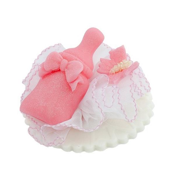 Dekoracja cukrowa na tort chrzest BUTELECZKA różowa