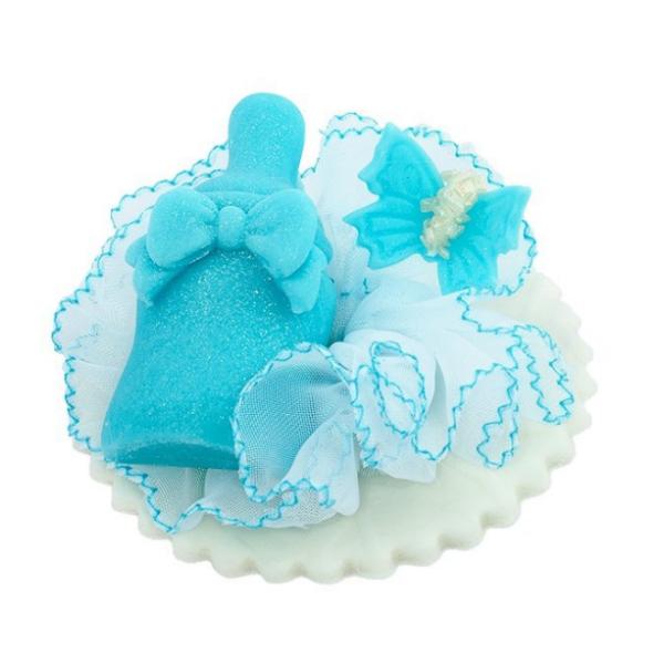 Dekoracja cukrowa na tort chrzest BUTELECZKA niebieska