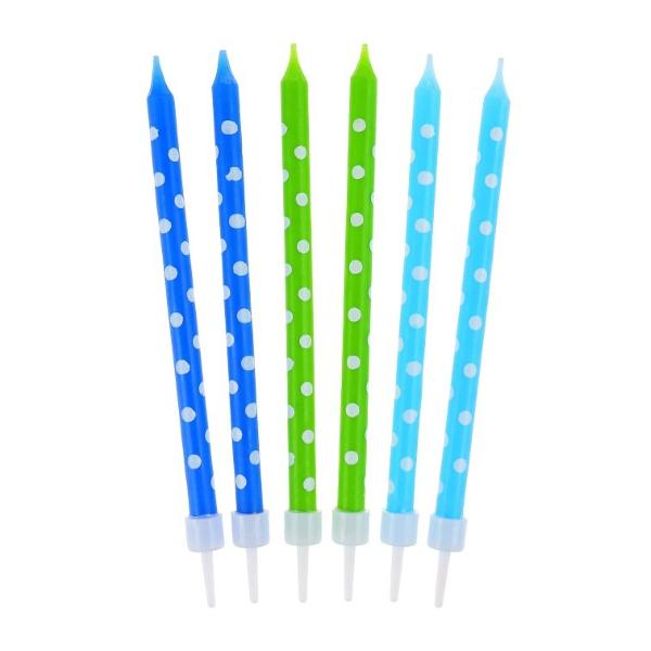 Świeczki urodzinowe na tort GROCHY niebieskie długie 24szt