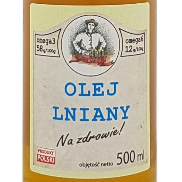 """Olej lniany """"Na zdrowie!"""" 500 ml - etykieta przód."""