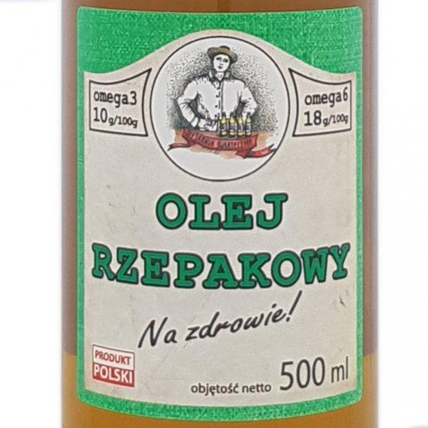 Olej rzepakowy 500 ml Na zdrowie! -  przód etytkieta.