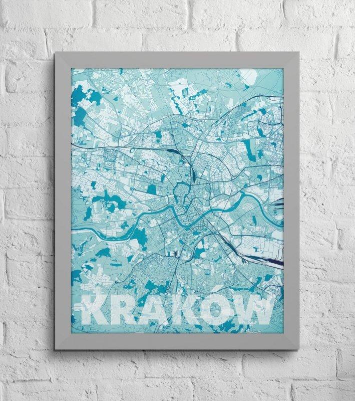 Plakat ścienny Kraków Błękitna Mapa Sklep Decoart24pl