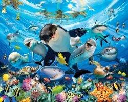 Fototapeta dla dzieci - Sea Adventure 3D - Delfiny - 243,8x304,8cm