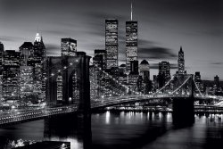 Brooklyn Bridge, New York (B&W) - plakat