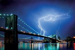 Brooklyn Bridge (New York, Lightning) - plakat