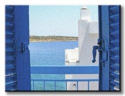 Obraz na ścianę - Grecja, balkon na Krecie - 120x90 cm