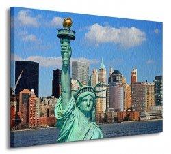 Statue of Liberty, Manhattan Skyline - Obraz na płótnie