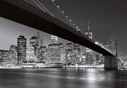 Fototapeta do salonu - Nowy Jork - Brooklyn Bridge BW - 366x254cm