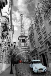 Paris Red Girl Blue Car - plakat