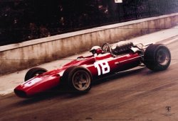 Obraz na drewnie - Ferrari F1 Vintage Bandini (67 Sepia)
