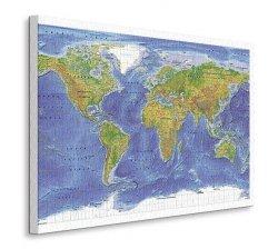 Obraz na płótnie - Mapa świata - World Terrain Map - 90x120 cm