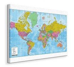 World Map - (Politcal & Terrain) - Obraz na płótnie