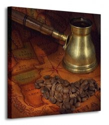 Coffee in a turk, grains and map - Obraz na płótnie