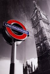 London Underground Sign & Big Ben - obraz na drewnie