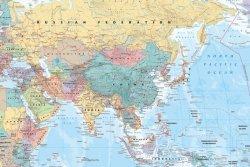 Mapa - Azja i Bliski Wschód - plakat
