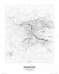 Kraków - Czarno-biała mapa