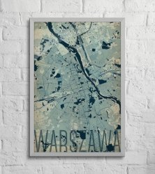 Plakat ścienny - Warszawa - Artystyczna mapa - 61x91,5 cm