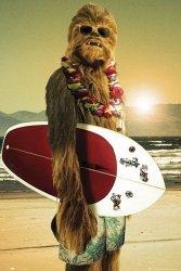 Star Wars Chewbacca Surfing - plakat