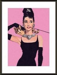 Obraz w ramie - Audrey Hepburn pink