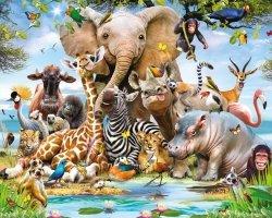 Fototapeta dla dzieci - Zwierzęta - Dżungla Safari - 3D - Walltastic - 243,8x304,8