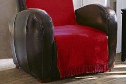 Koc - Narzuta na fotel - 50x200 cm - Bordo