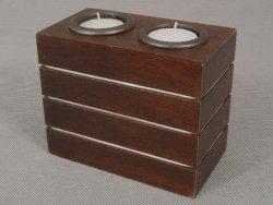 Świecznik - Drewniany - English brown - 14x7x11cm