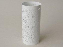 Świecznik metalowy - Biały - 10,5x23cm