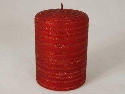 Świeca ozdobna - Red - Velvet/glitter - 7x10cm