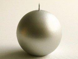 Świeca ozdobna - Srebrna kula -10cm