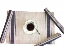 Podkładki na stół w beżowo - niebieskie paski - Komplet 4szt