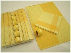 Podkładki na stół + Serwetki + Obrączki na serwetki x 6-szt - Żółty