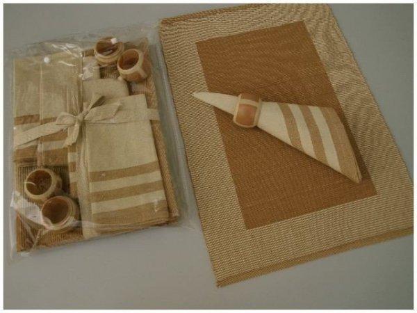 Podkładki na stół + Serwetki + Obrączki na serwetki x 4-szt -Brąz