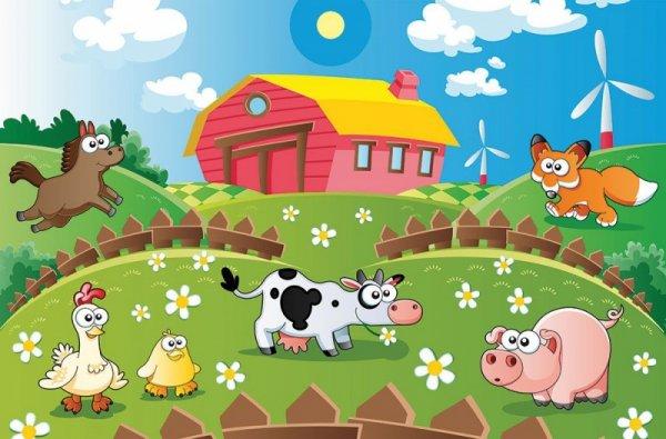 Fototapeta dla dzieci - Farma i zwierzaki - 175x115 cm