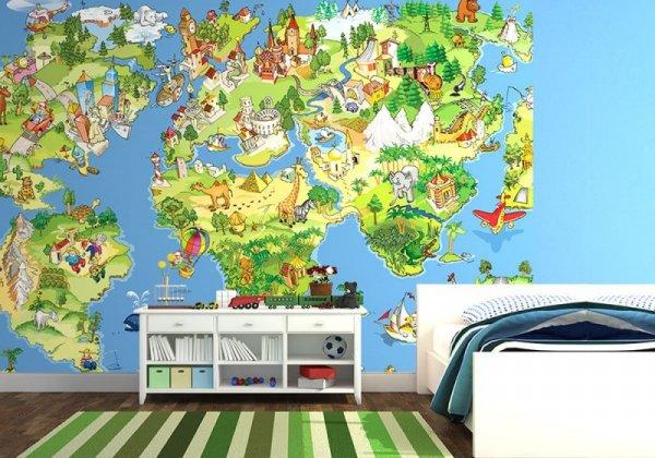 Fototapeta dla dzieci -  Mapa Świata - 254x183 cm
