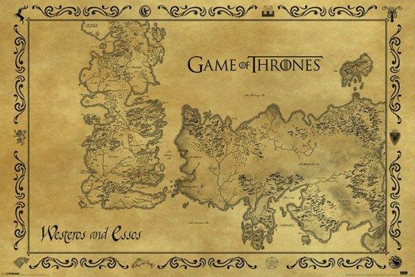 Gra o tron - Westeros i Essos - Mapa Antyczna - plakat