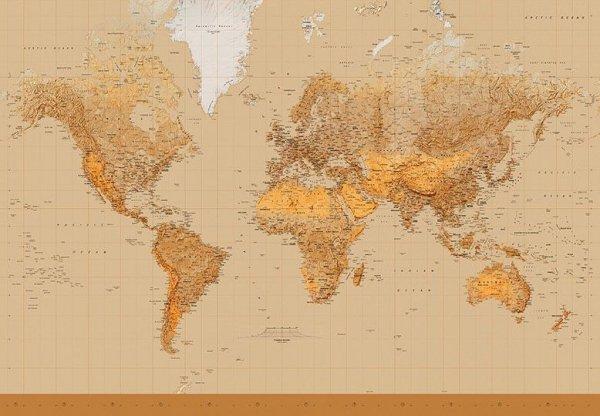 Fototapeta Mapa Świata - 366x254 cm