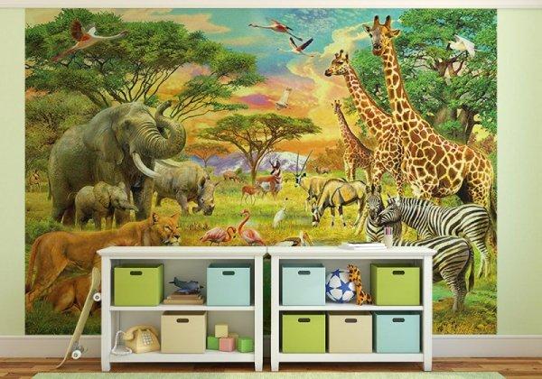 Fototapeta dla dzieci - Afrykańskie Zwierzęta - 366x254 cm