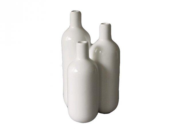Wazon ceramiczny - Potrójny biały - 16x16x29cm