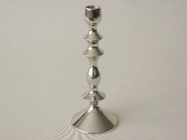 Świecznik - 9x23cm - Mosiądz niklowany