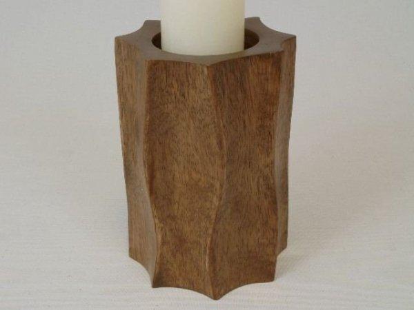 Świecznik - Brązowy - Drewniany - 10x15cm