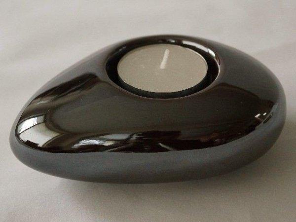 Świecznik - Ciemny brąz - 12cm - Ceramika