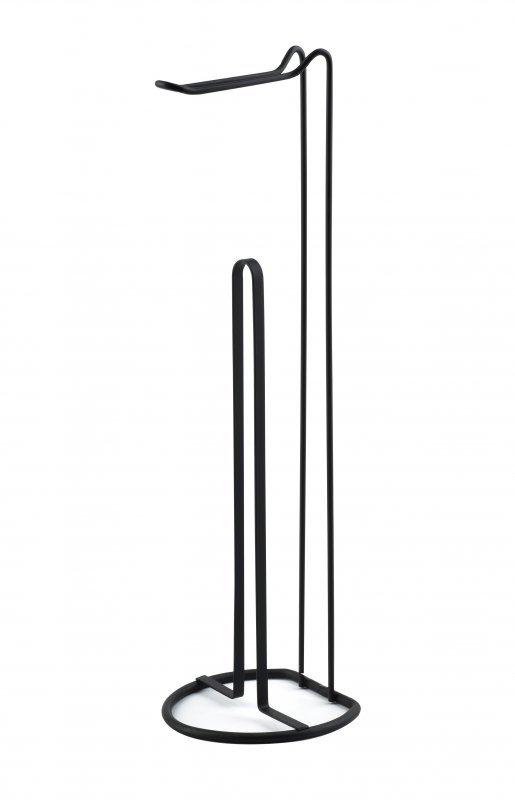 Stojak na papier toaletowy - Uchwyt łazienkowy - Czarny - 52cm - dodatki do łazienki - decoart24.pl